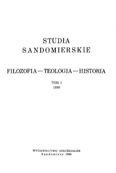 Studia Sandomierskie, Tom I, 1980 r.