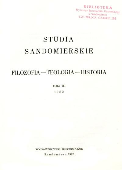 Studia Sandomierskie, Tom III, 1982 r.