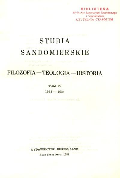Studia Sandomierskie, Tom IV, 1983-1984 r.
