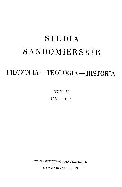 Studia Sandomierskie, Tom V, 1985-1989 r.