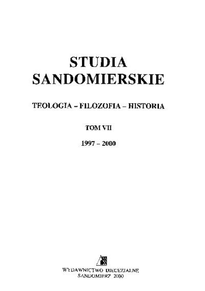 Studia Sandomierskie, Tom VII, 1997-2000 r.
