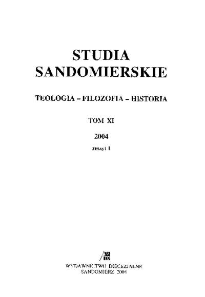 Studia Sandomierskie, Tom XI, 2004 r., zeszyt 1