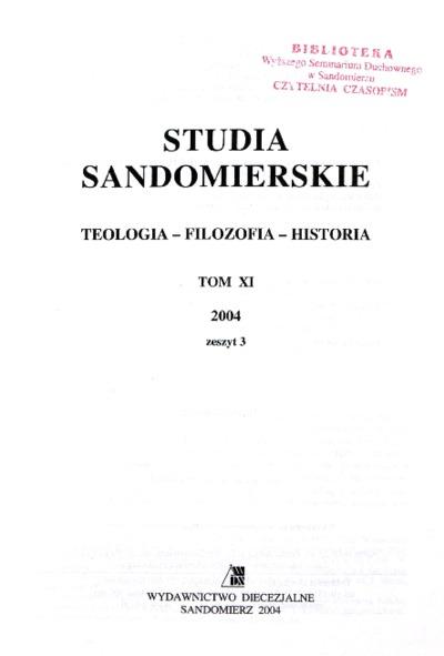 Studia Sandomierskie, Tom XI, 2004 r., zeszyt 3