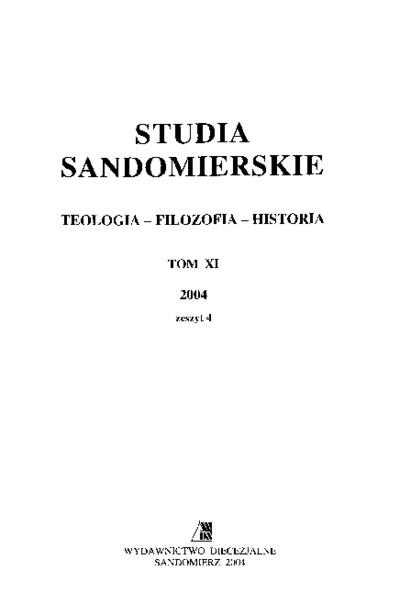 Studia Sandomierskie, Tom XI, 2004 r., zeszyt 4