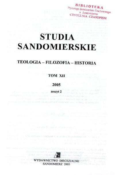Studia Sandomierskie, Tom XII, 2005 r., zeszyt 2