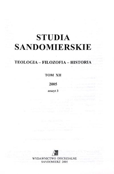 Studia Sandomierskie, Tom XII, 2005 r., zeszyt 3