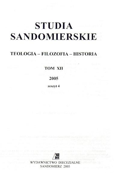 Studia Sandomierskie, Tom XII, 2005 r., zeszyt 4