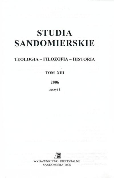 Studia Sandomierskie, Tom XIII, 2006 r., zeszyt 1