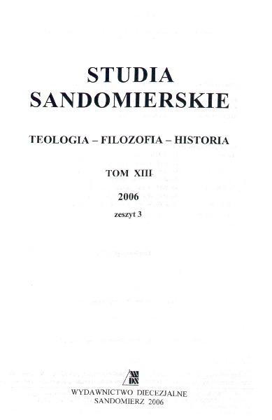 Studia Sandomierskie, Tom XIII, 2006 r., zeszyt 3