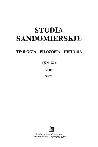 Studia Sandomierskie, Tom XIV, 2007 r., zeszyt 1