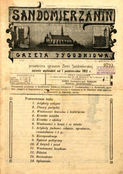 Sandomierzanin, Rocznik I, rok 1912