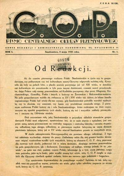 C.O.P. Pismo Centralnego Okregu Przemysłowego. Rocznik I, nr 1-27, 1938 r.
