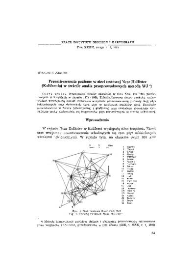 Przemieszczenia poziome w sieci testowej Near Hollister (Kalifornia) w świetle analiz przeprowadzonych metodą WJ