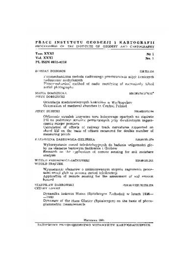 Prace Instytutu Geodezji i Kartografii 1984 t. 31 z. 1 (73) - wprowadzenie