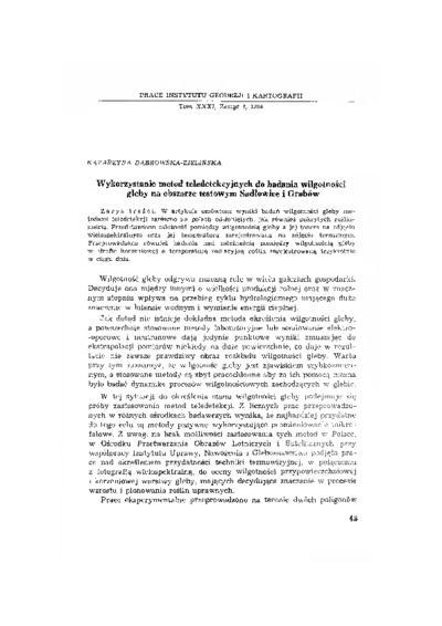 Wykorzystanie metod teledetekcyjnych do badania wilgotności gleby na obszarze testowym Sadłowice i Grabów