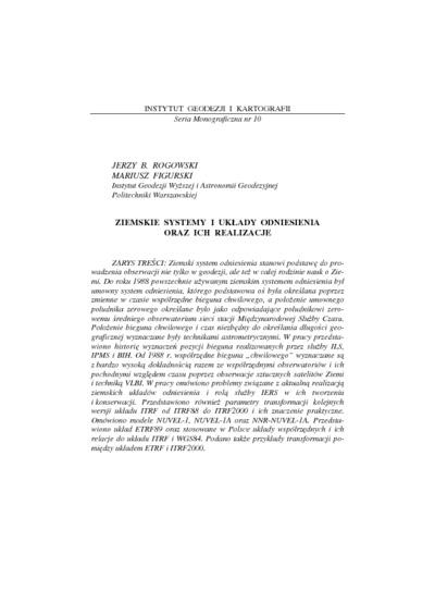 Ziemskie systemy i układy odniesienia oraz ich realizacje