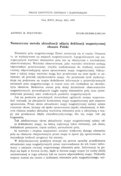 Numeryczna metoda aktualizacji zdjęcia deklinacji magnetycznej obszaru Polski