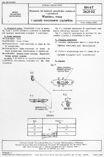 Wyważanie kół jezdnych samochodów osobowych i pochodnych - Wymiary, masy i sposób mocowania ciężarków BN-67/3621-02