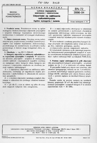 Lotnicze wyposażenie elektryczne i elektroniczne - Odporność na zakłócenia radioelektryczne - Ogólne wymagania i badania BN-72/3886-04