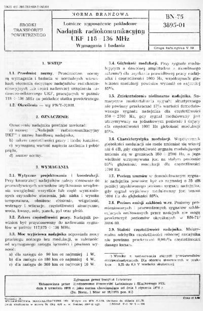 Lotnicze wyposażenie pokładowe - Nadajnik radiokomunikacyjny UKF 118 - 136 MHz - Wymagania i badania BN-75/3895-01