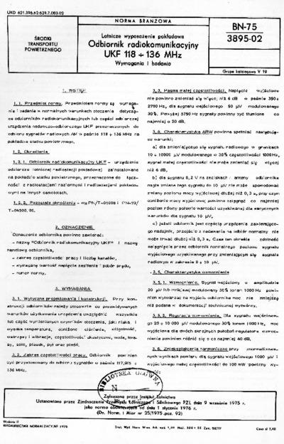 Lotnicze wyposażenie pokładowe - Odbiornik radiokomunikacyjny UKF 118 - 136 MHz - Wymagania i badania BN-75/3895-02