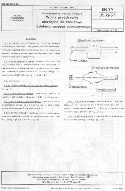 Normalnotorowe wagony towarowe - Wolne przestrzenie niezbędne do zabudowy i działania sprzęgu samoczynnego BN-79/3532-57
