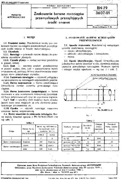 Znakowanie barwne rurociągów przemysłowych przesyłających środki smarne BN-79/3607-01