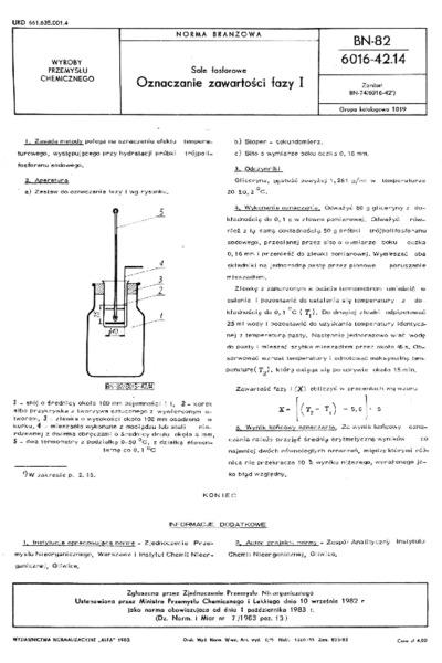 Sole fosforowe - Oznaczanie zawartości fazy I BN-82/6016-42.14