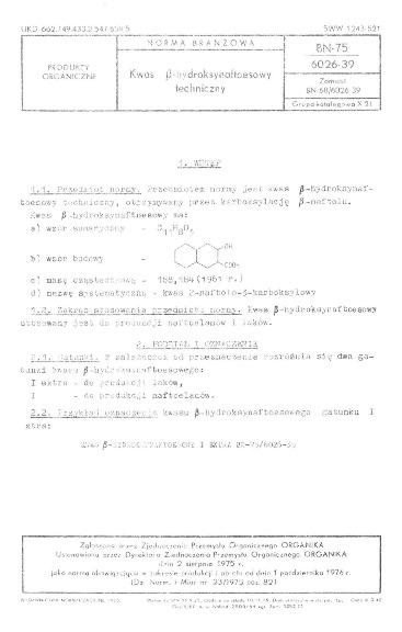 Kwas β-hydroksynaftoesowy techniczny BN-75/6026-39