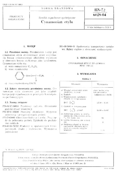 Środki zapachowe syntetyczne - Cynamonian etylu BN-72/6028-04