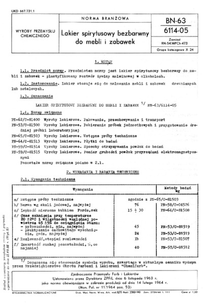 Lakier spirytusowy bezbarwny do mebli i zabawek BN-63/6114-05