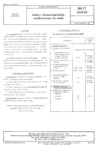 Lakiery chemoutwardzalne szybkoschnące do mebli BN-77/6114-08