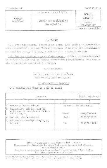 Lakier nitrocelulozowy do ołówków BN-75/6114-29