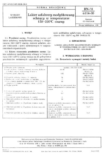 Lakier asfatowy modyfikowany schnący w temperaturze 150÷220º C czarny BN-78/6114-30