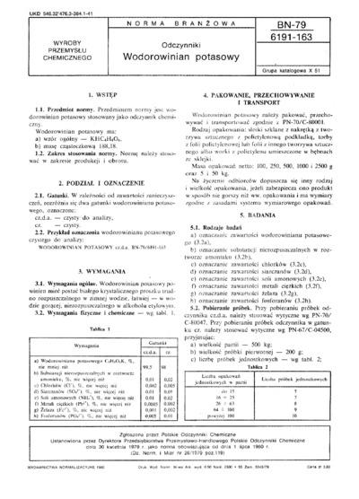 Odczynniki - Wodorowinian potasowy BN-79/6191-163