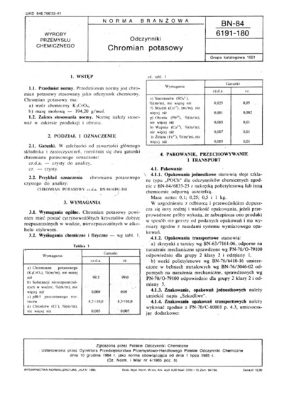 Odczynniki - Chromian potasowy BN-84/6191-180