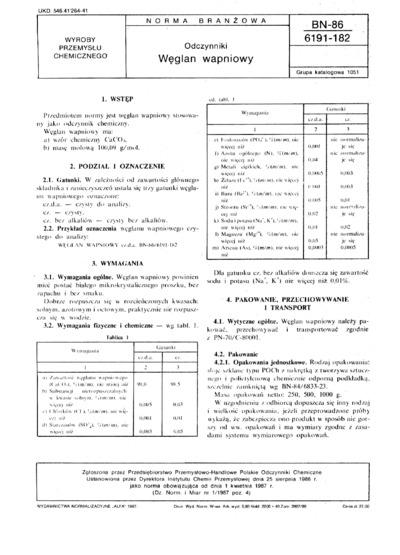 Odczynniki - Węglan wapniowy BN-86/6191-182