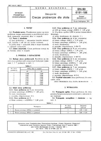 Odczynniki - Ciecze probiercze dla złota BN-90/6191-188