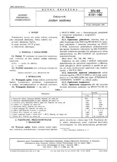 Odczynniki - Jodan sodowy BN-89/6191-190