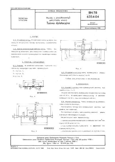Wyroby z plastyfikowanego poli(chlorku winylu) - Taśma dylatacyjna BN-78/6354-04