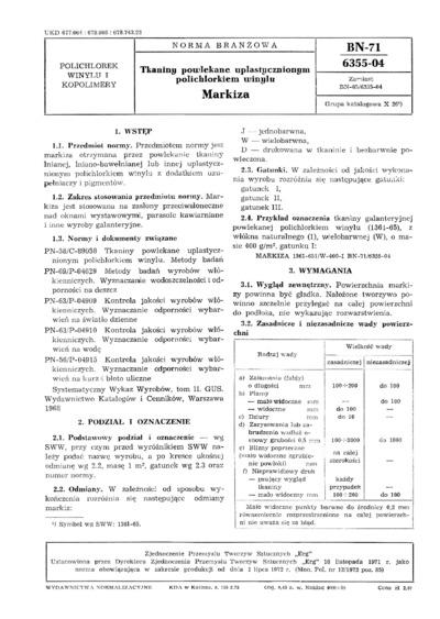 Tkaniny powlekane uplastycznionym polichlorkiem winylu - Markiza BN-71/6355-04