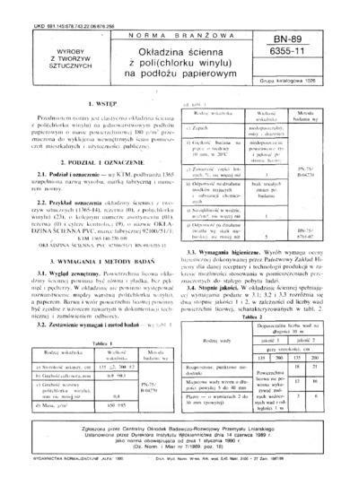 Okładzina ścienna z poli (chlorku winylu) na podłożu papierowym BN-89/6355-11