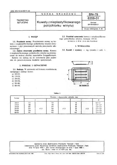 Kuwety z nieplastyfikowanego poli (chlorku winylu) BN-79/6359-01