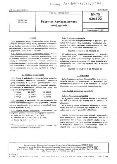 Polietylen homogenizowany małej gęstości BN-75/6364-02