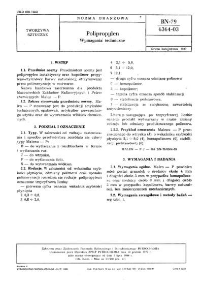Polipropylen - Wymagania techniczne BN-79/6364-03