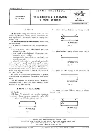 Folia szeroka z polietylenu o małej gęstości BN-86/6365-04