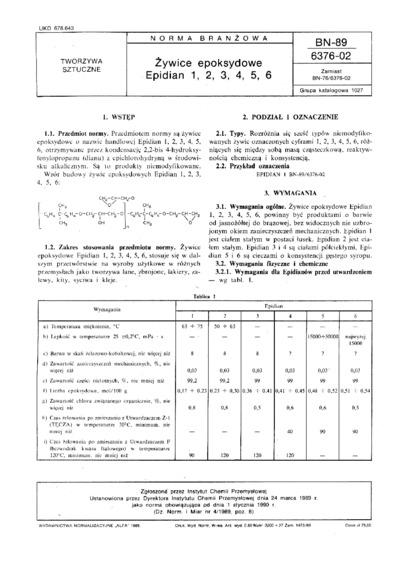 Żywice epoksydowe - Epidian 1, 2, 3, 4, 5, 6 BN-89/6376-02