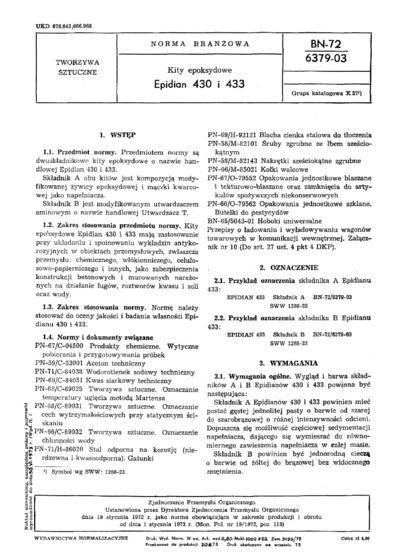 Pasta epoksydowa - Epidian 430 i 433 BN-72/6379-03