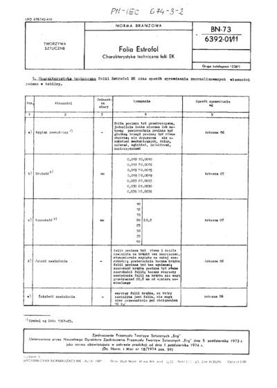 Folia Estrofol - Charakterystyka techniczna folii EK BN-73/6392-01/11