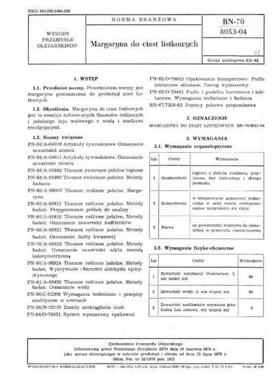 Margaryna do ciast listkowych BN-70/8053-04
